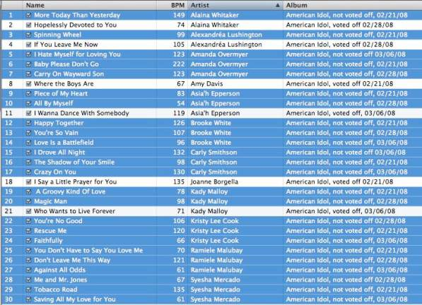 BPM screen shot from iTunes from American Idol downloads 2